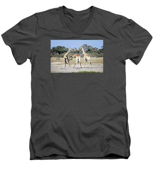 Men's V-Neck T-Shirt featuring the photograph Necking Giraffes Botswana by Liz Leyden