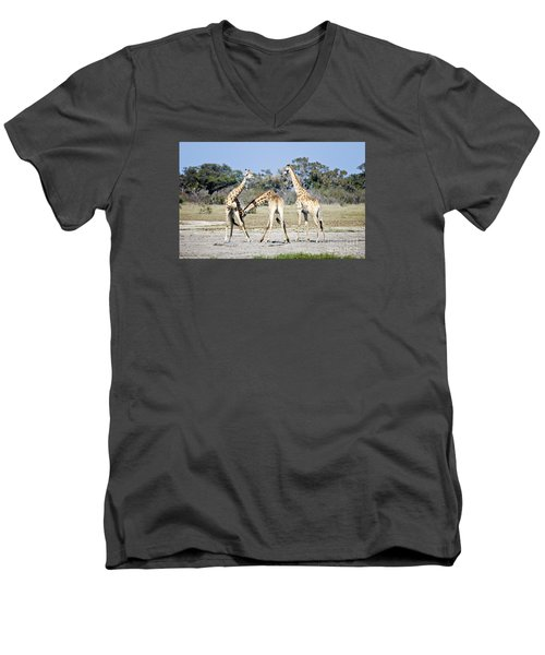 Necking Giraffes Botswana Men's V-Neck T-Shirt