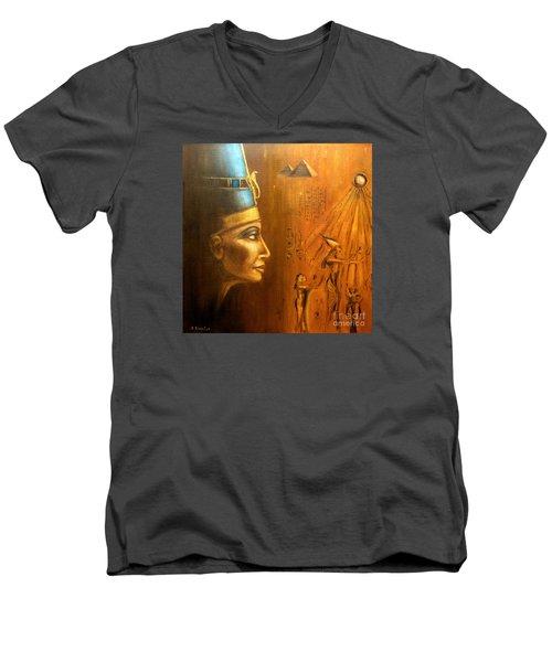 Men's V-Neck T-Shirt featuring the painting Nefertiti by Arturas Slapsys
