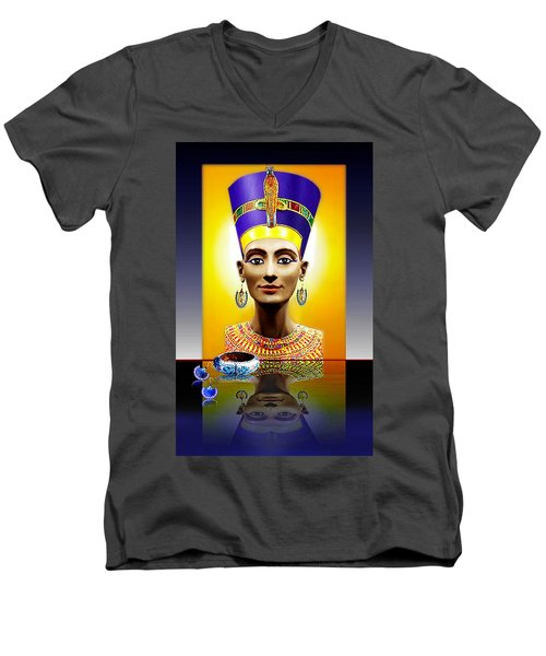Nefertiti  The  Beautiful Men's V-Neck T-Shirt by Hartmut Jager