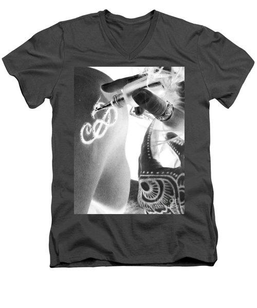 Men's V-Neck T-Shirt featuring the digital art Negative Henna Hands II by Jennie Breeze