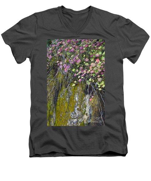 Neon Leaves No 2 Men's V-Neck T-Shirt by Alycia Christine