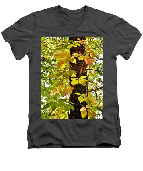 Neon Leaves Men's V-Neck T-Shirt