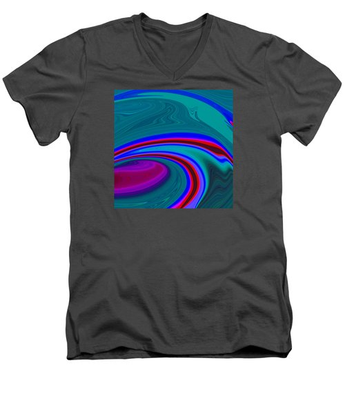 Men's V-Neck T-Shirt featuring the painting Neon Wave C2014 by Paul Ashby