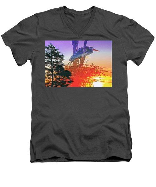 Nesting Heron - Summer Time Men's V-Neck T-Shirt