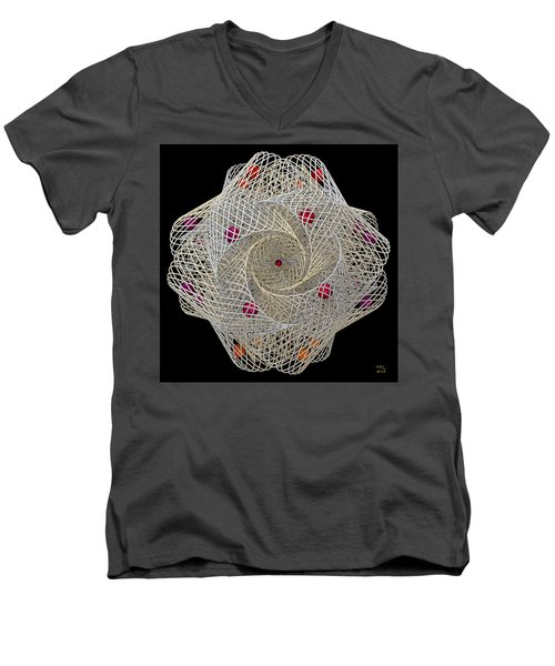 Men's V-Neck T-Shirt featuring the digital art Netted by Manny Lorenzo