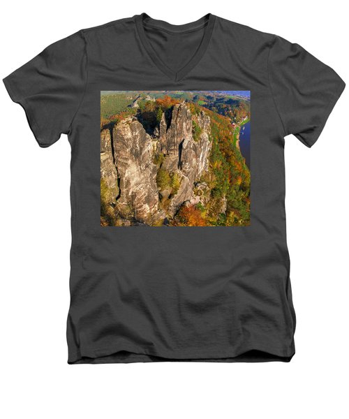 Neurathen Castle In The Saxon Switzerland Men's V-Neck T-Shirt