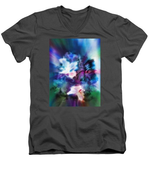Men's V-Neck T-Shirt featuring the digital art New Bouquet by Frank Bright