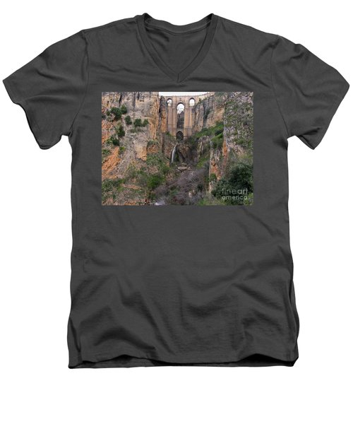 New Bridge V2 Men's V-Neck T-Shirt by Suzanne Oesterling