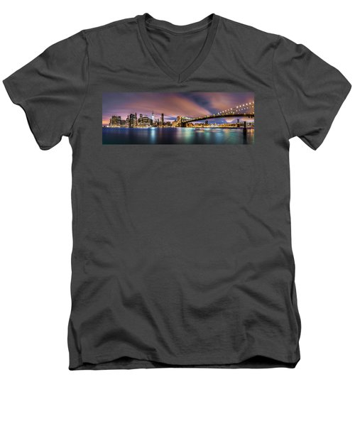 New Dawn Over New York Men's V-Neck T-Shirt