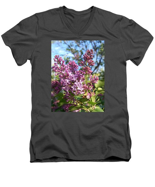 Men's V-Neck T-Shirt featuring the photograph Purple Lilac by Eunice Miller