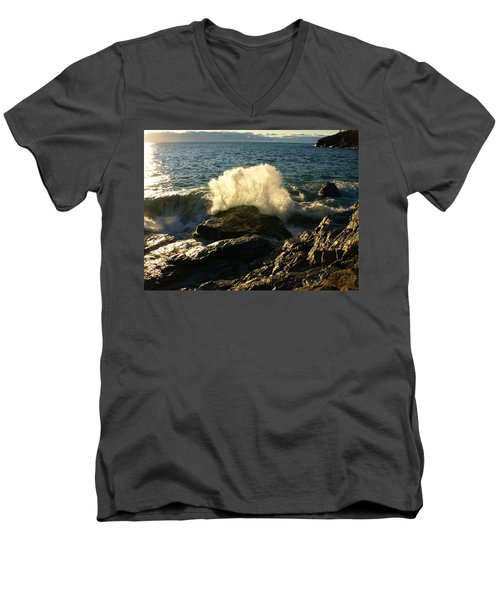 Men's V-Neck T-Shirt featuring the photograph New Heights by James Peterson