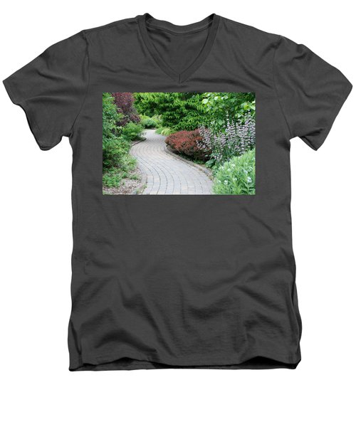 Men's V-Neck T-Shirt featuring the photograph Frelinghuysen Arboretum Path by Richard Bryce and Family