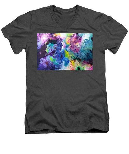 New Life Men's V-Neck T-Shirt by Sally Trace