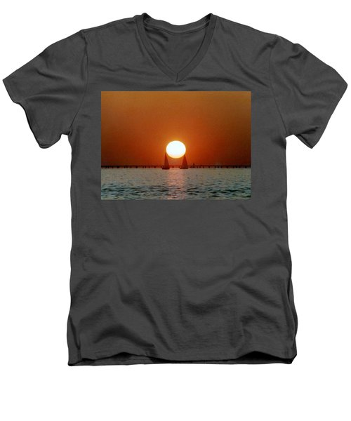 Men's V-Neck T-Shirt featuring the photograph New Orleans Sailing Sun On Lake Pontchartrain by Michael Hoard