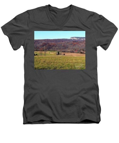 New Paltz Beauty Men's V-Neck T-Shirt by Ed Weidman