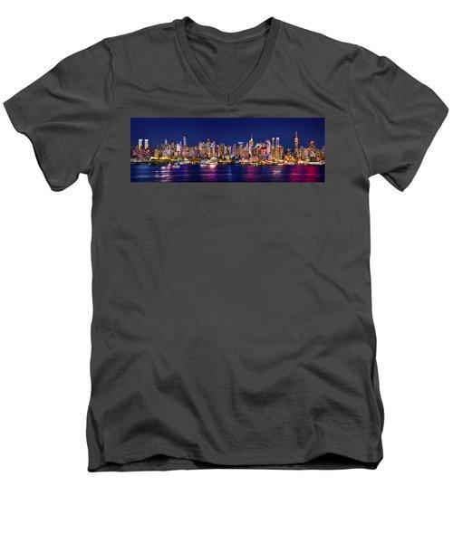New York City Nyc Midtown Manhattan At Night Men's V-Neck T-Shirt by Jon Holiday