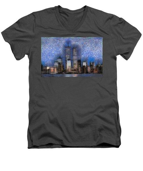 New York City Blue And White Skyline Men's V-Neck T-Shirt