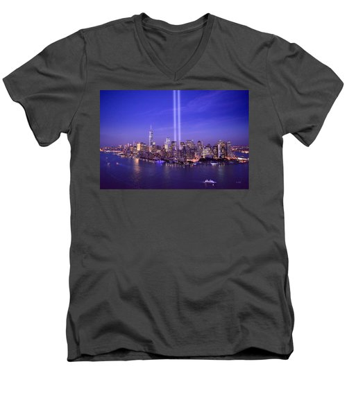 Men's V-Neck T-Shirt featuring the photograph New York City Tribute In Lights World Trade Center Wtc Manhattan Nyc by Jon Holiday