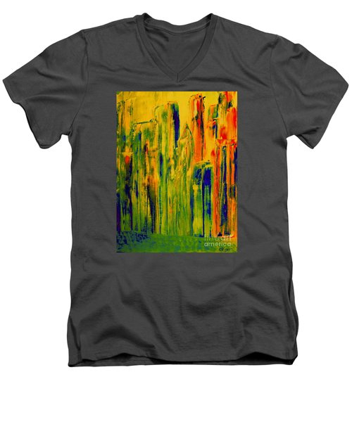 New York On A Hot June Morning Men's V-Neck T-Shirt by Bill OConnor