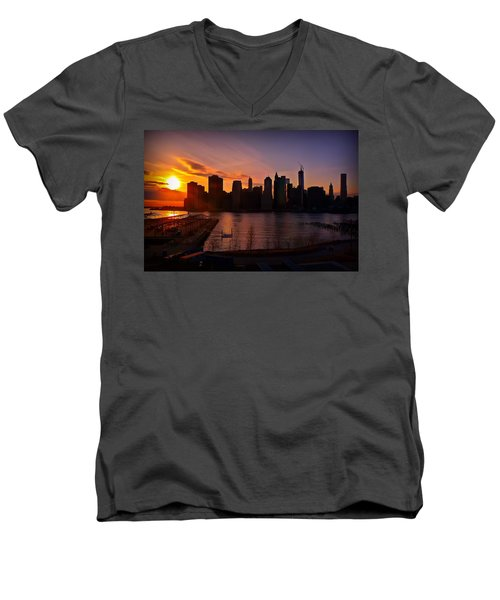 Men's V-Neck T-Shirt featuring the photograph New York Skyline Sunset -- From Brooklyn Heights Promenade by Mitchell R Grosky