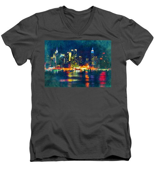New York State Of Mind Abstract Realism Men's V-Neck T-Shirt