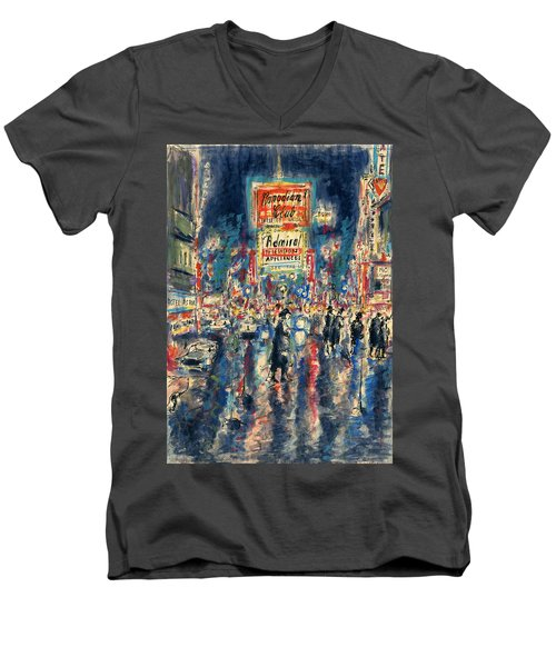 New York Times Square 79 - Watercolor Art Painting Men's V-Neck T-Shirt