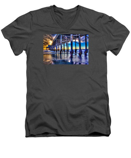 Newport Beach Pier - Low Tide Men's V-Neck T-Shirt by Jim Carrell