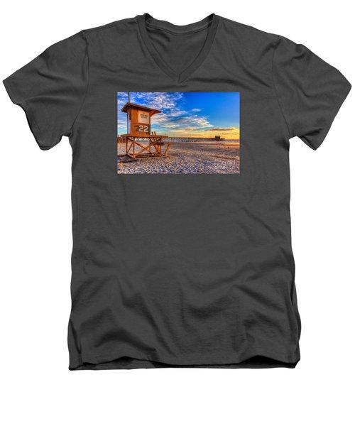 Newport Beach Pier - Wintertime  Men's V-Neck T-Shirt