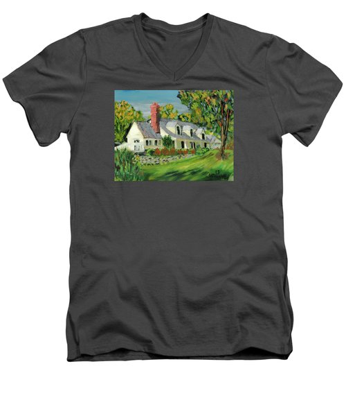 Men's V-Neck T-Shirt featuring the painting Next To The Wooden Duck Inn by Michael Daniels