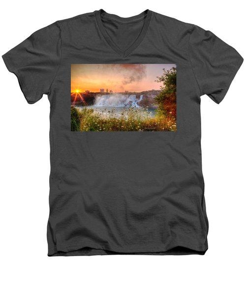Niagara Falls Canada Sunrise Men's V-Neck T-Shirt