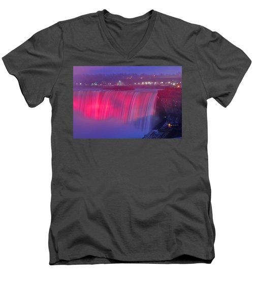 Niagara Falls Pretty In Pink Lights. Men's V-Neck T-Shirt