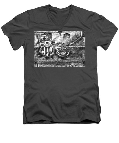 Men's V-Neck T-Shirt featuring the drawing Nice Cup Of Tea by Teresa White