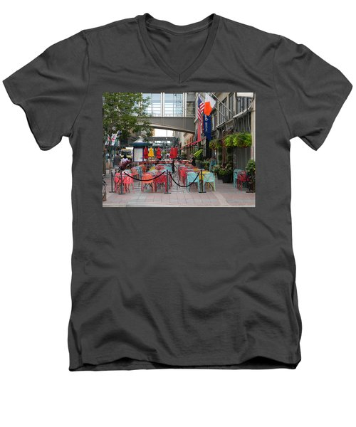 Nicollet Ave. Restaurant 1 Minneapolis Men's V-Neck T-Shirt by Mark Minier