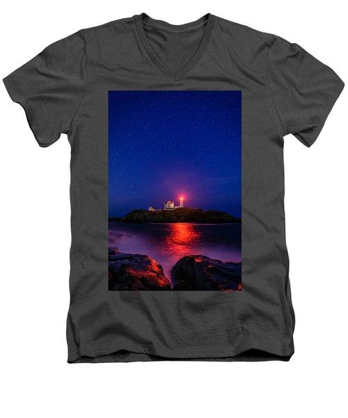 Night At Nubble Light Men's V-Neck T-Shirt
