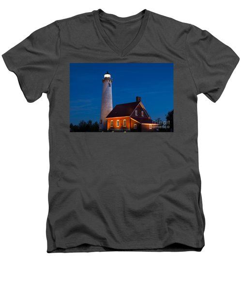 Night At The Lighthouse Men's V-Neck T-Shirt by Patrick Shupert