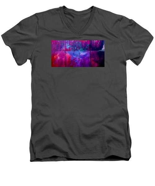 Men's V-Neck T-Shirt featuring the painting Night Falls Upon by Lisa Kaiser