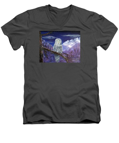Men's V-Neck T-Shirt featuring the painting Night Hunter by Lee Piper