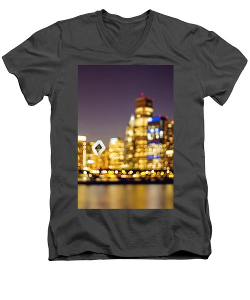 Night Lights - Abstract Chicago Skyline Men's V-Neck T-Shirt