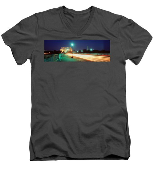 Night, Lincoln Memorial, District Of Men's V-Neck T-Shirt by Panoramic Images