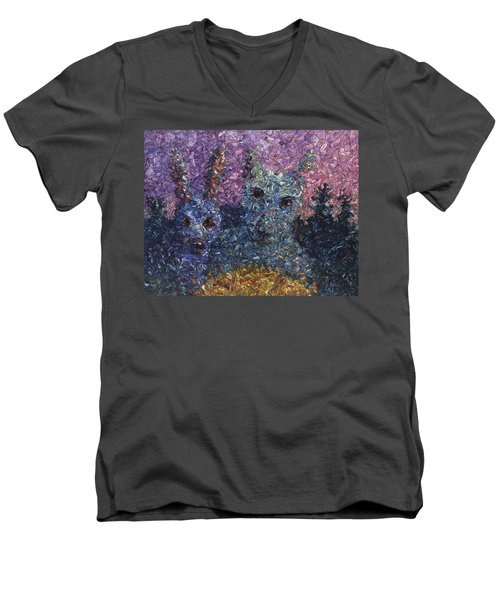 Men's V-Neck T-Shirt featuring the painting Night Offering by James W Johnson