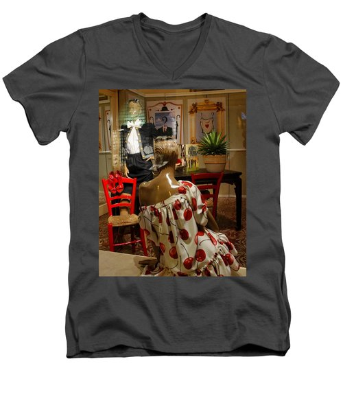 Men's V-Neck T-Shirt featuring the photograph Cherry Bomb by Natalie Ortiz