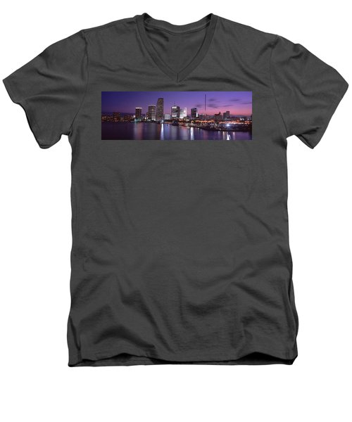 Night Skyline Miami Fl Usa Men's V-Neck T-Shirt