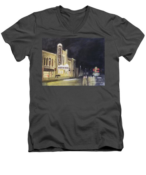 Night Time At Michigan Theater - Ann Arbor Mi Men's V-Neck T-Shirt