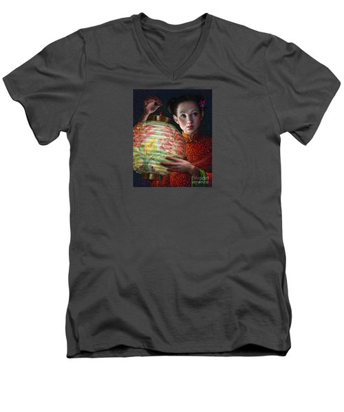 Men's V-Neck T-Shirt featuring the painting Nightingale Girl by Jane Bucci