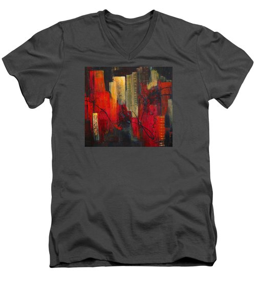 Nightscape Men's V-Neck T-Shirt by Roberta Rotunda