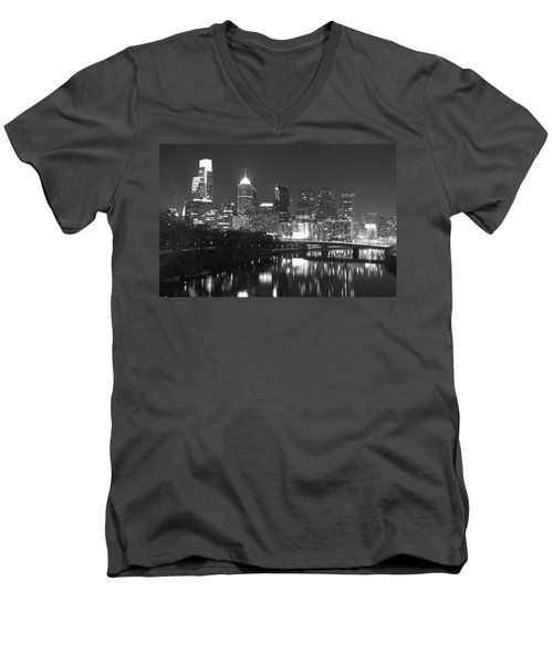Men's V-Neck T-Shirt featuring the photograph Nighttime In Philadelphia by Alice Gipson