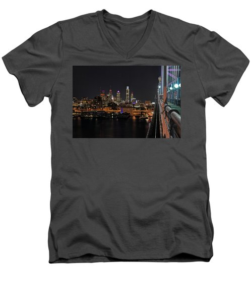 Nighttime Philly From The Ben Franklin Men's V-Neck T-Shirt