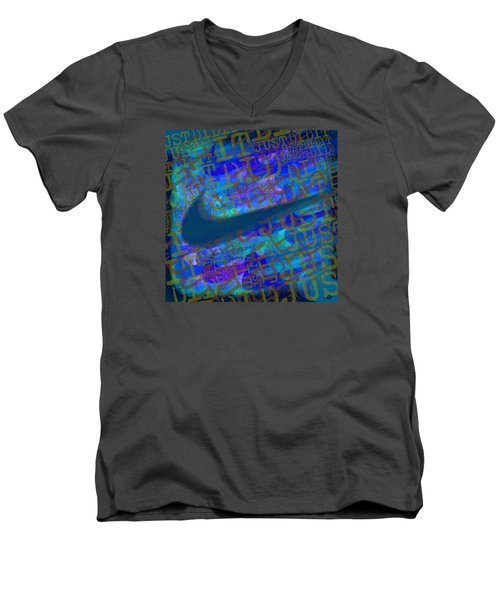 Nike Just Did It Blue Men's V-Neck T-Shirt