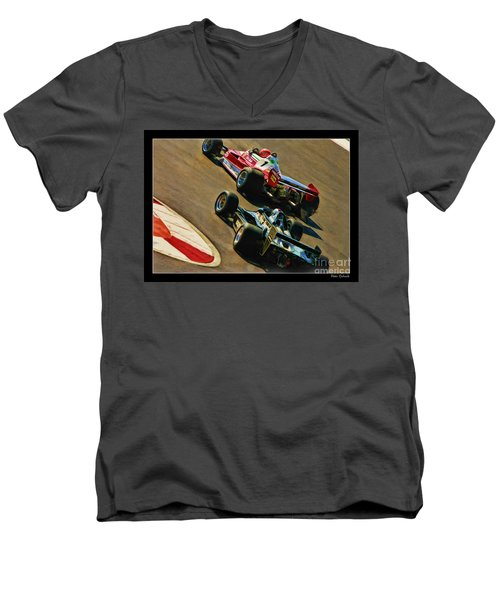 Niki Lauda Leads Mario Andretti Men's V-Neck T-Shirt